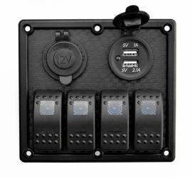 Панель на 4 выключателя (клавишная) с USB и прикуривателем